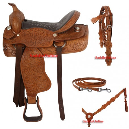 Brown Western Trail Ranch Work Saddle 18