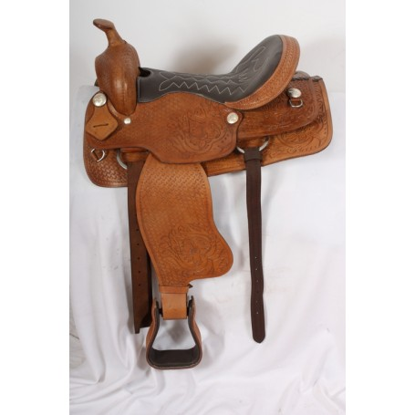 Brown Western Trail Work Leather Horse Saddle 17