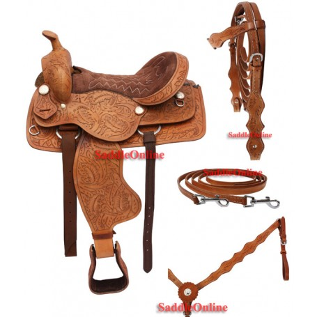 Brown Western Leather Trail Saddle Package 18