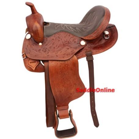 Brown Western Barrel Racing Horse Leather Saddle 15