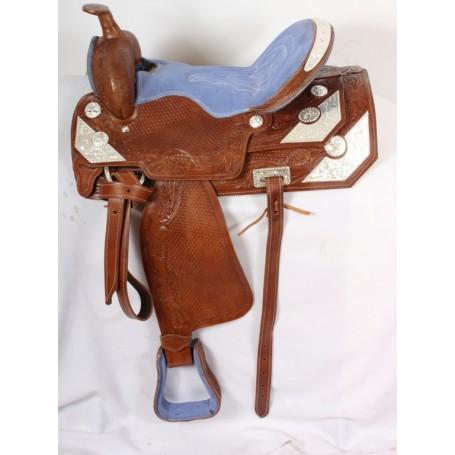 Western Show Tooled Leather Horse Saddle 16
