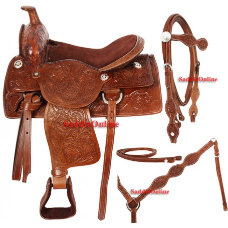 Custom Made Tooled Western Trail Horse Leather Saddle 17