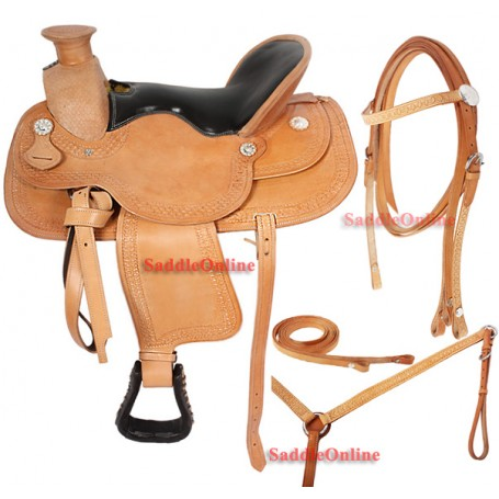 Custom Made Tooled Western Trail Horse Leather Saddle 17