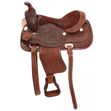 Hand Tooled Brown Western Trail Saddle Tack 16