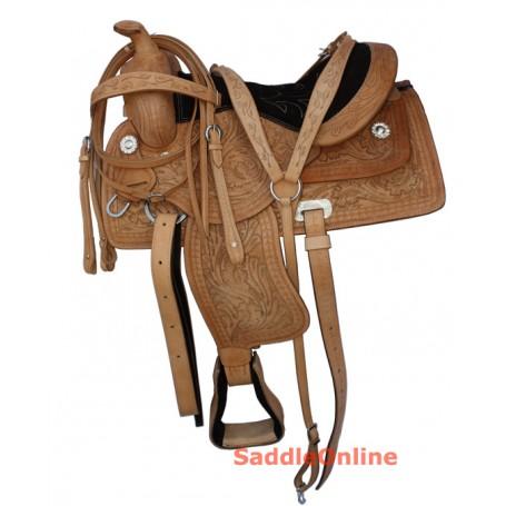 Natural Hand Carved Western Trail Saddle Tack Set 16