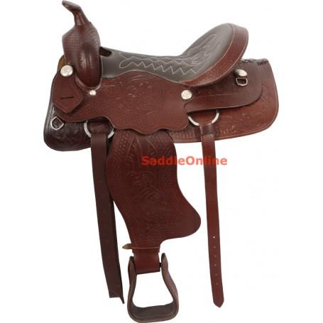 Premium Western Horse Tooled Trail Saddle 15 17 18