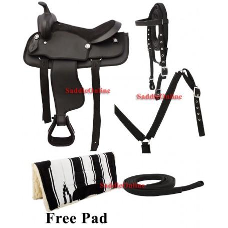 Kids Youth Pony Mini Synthetic Black Saddle Tack Pad 10