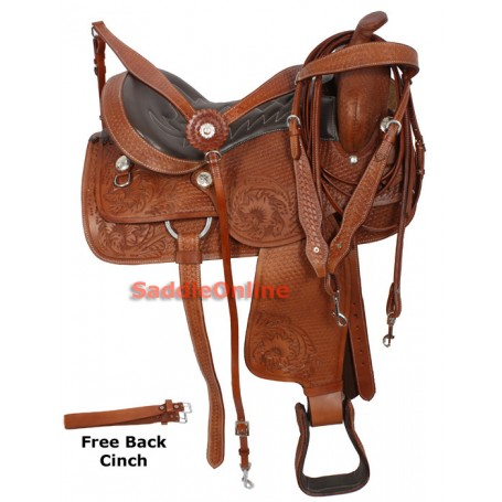 Comfortable Western Pleasure Trail Horse Saddle 16-17