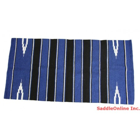 NEW WESTERN BLUE/ BLACK COTTON/ACRYLIC  BLANKET