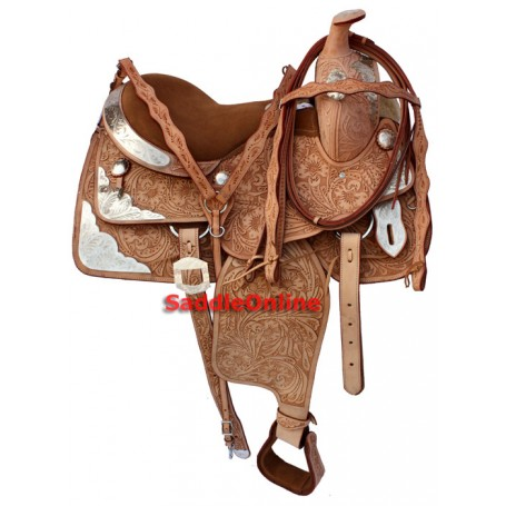 Hand Carved Western Leather Horse Show Saddle 16