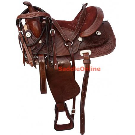Western Leather Horse Pleasure Trail Saddle Tack 16 18
