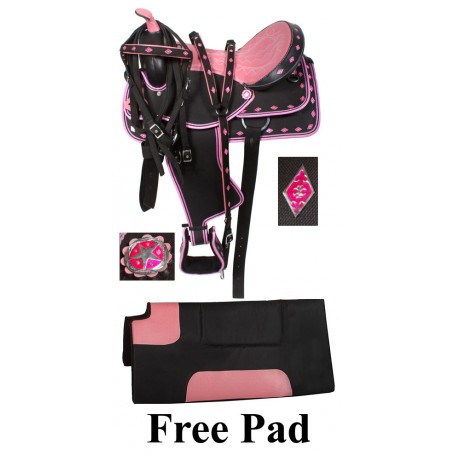 Pink Ostrich Synthetic Western Saddle Tack Set 16