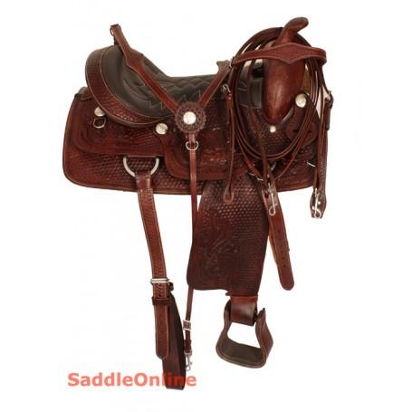 Premium Hand Tooled Western Trail Horse Saddle 17