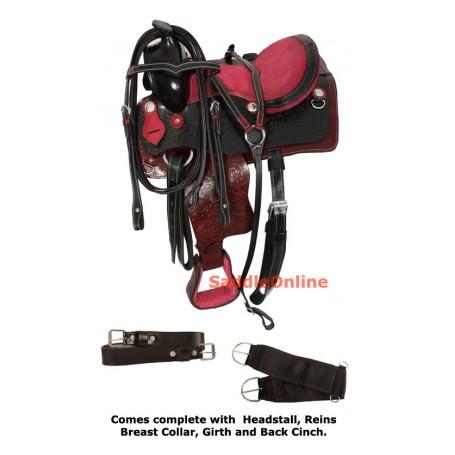 Pink Black Western Leather Pony Saddle 10