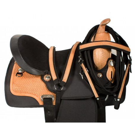 Black Premium Synthetic Horse Saddle Tack Leather 16 17
