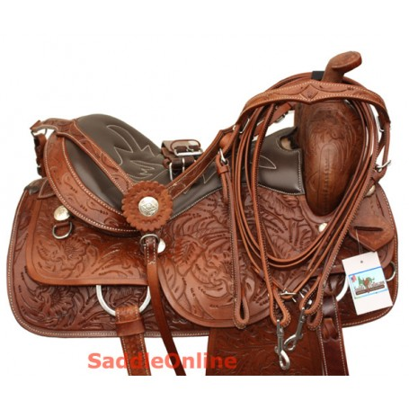 Tooled Western Horse Pleasure Trail Saddle Tack 15 16 17 18