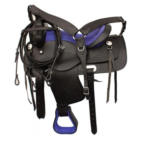 Youth Pony Western Leather Saddle 13 Blue Black