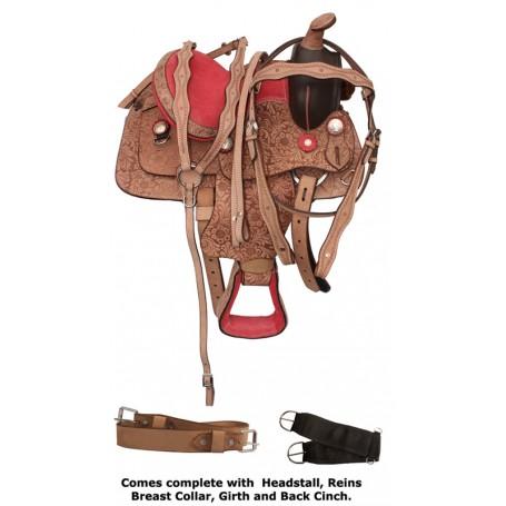 Kids Youth Pink Leather Pony Saddle Tack 13