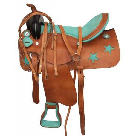 Economy Western Star Trail Leather Saddle Tack Set 17