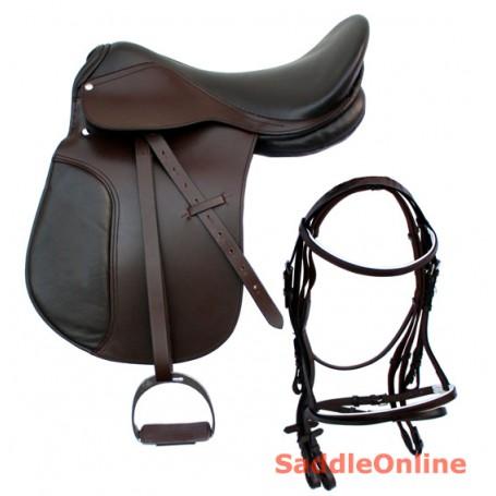 English Leather Dressage Saddle Bridle Leather Set 18-19