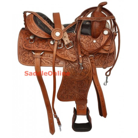Hand Carved Western Slick Leather Seat Saddle 17