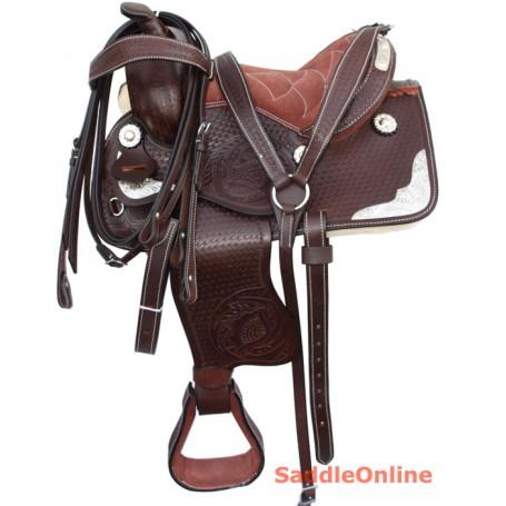 Kids Youth Pony Show Leather Saddle 8