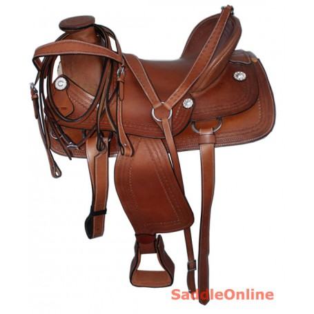A Fork Western Leather Ranch Work Saddle Tack 15