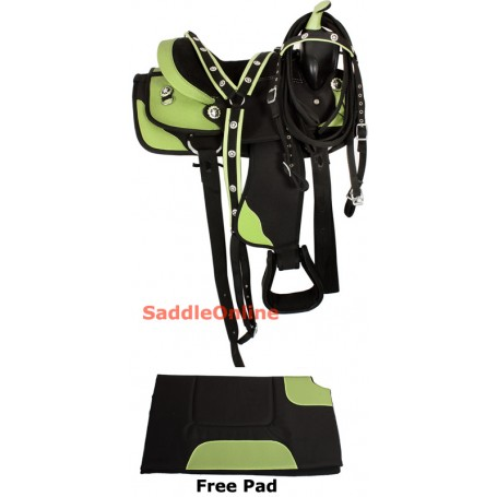 Ostrich Print Green Synthetic Kids Pony Saddle 10-13