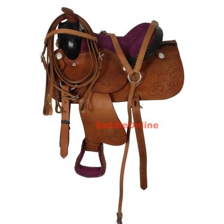 Kids Youth Pony Purple Seat Saddle 10