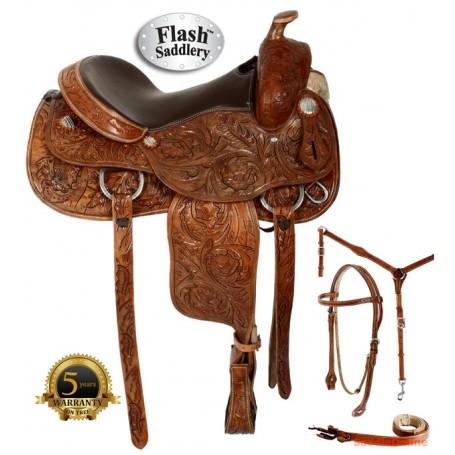Hand Carved Western Trail Reining Saddle Tack Set 15 16