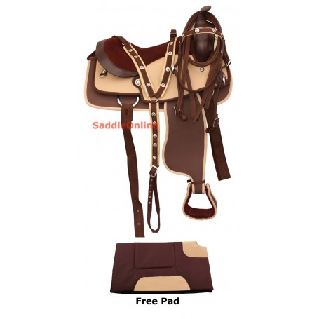 Synthetic Kids Youth Horse Western Trail Saddle 13