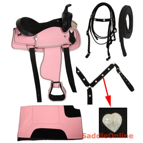 Pink Western Synthetic Hearts Saddle Tack Pad 14 15 16