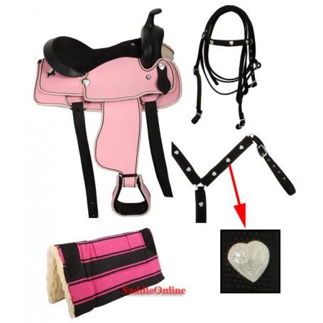 Pink Western Synthetic Hearts Saddle Tack Pad 14 15 16