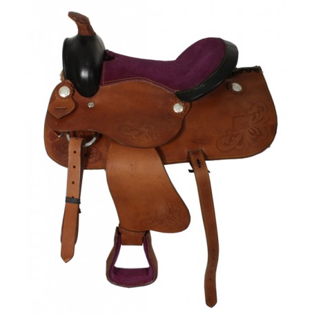 Purple Miniature Horse Youth Leather Kids Show Saddle