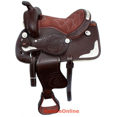New 8 Brown Kids Leather Mini Miniature Horse Show Saddle