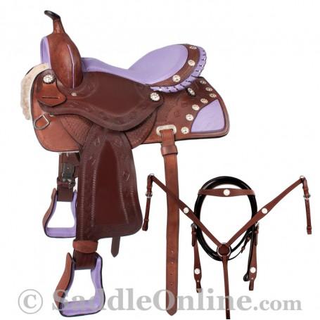 15  16 Leather Barrel Racing Purple Ostrich Seat Saddle