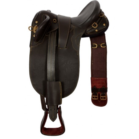 Dark Brown 16 Australian Saddle Girth Stirrups