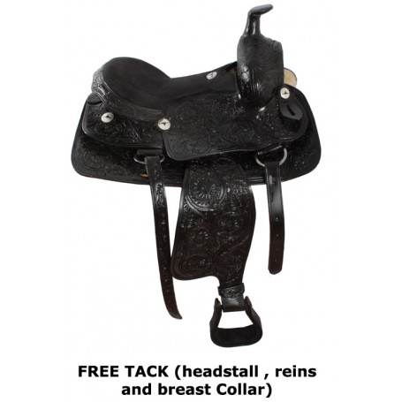 Hand Carved Black Western Premium Leather Horse Saddle 17
