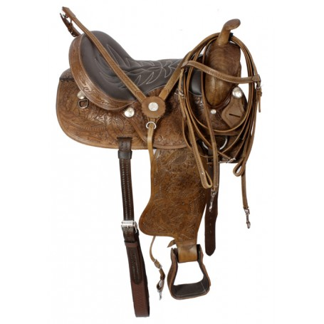 Premium Hand Tooled Western Trail Horse Saddle 16