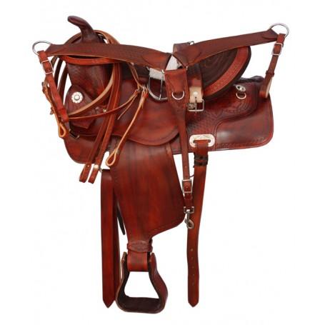 New Comofrtable Tan Leather 15 16 17 Pleasure Saddle Tack