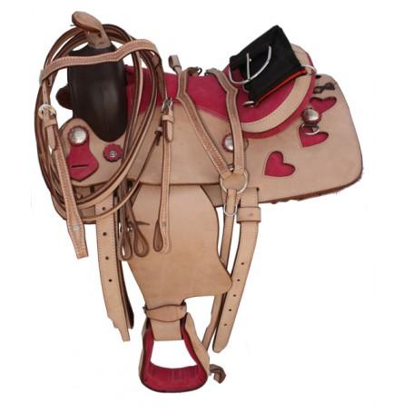 Pink Youth Pony Western Leather Saddle 10 12 13 14