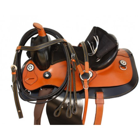 Youth Pony Black Western Leather Saddle 10