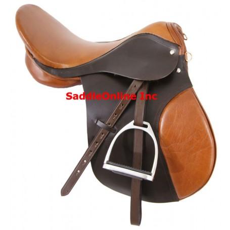 Two tone Leather All Purpose Horse English Saddle