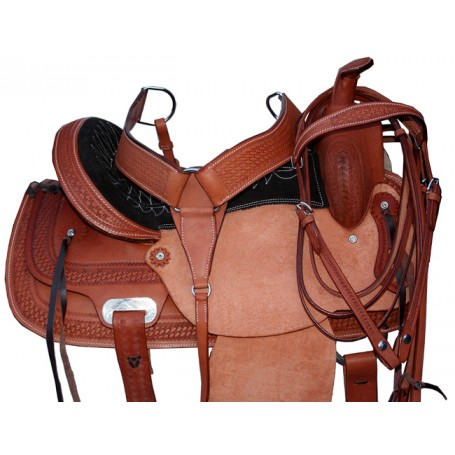 Hand Made Leather Rough Out Horse Saddle 15
