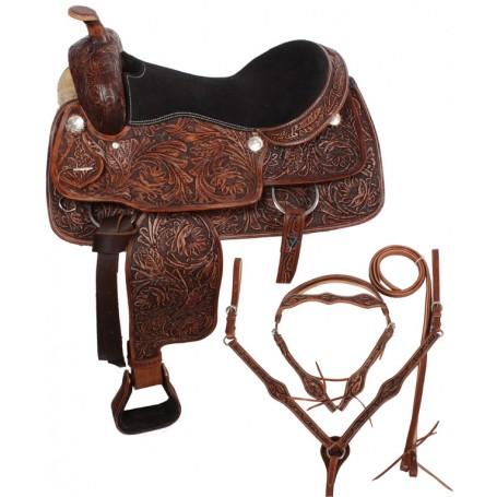 Hand Carved Western Trail Saddle Tack Set 17