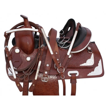 New 15-18 Western Pleasure Show Silver Horse Saddle Tack