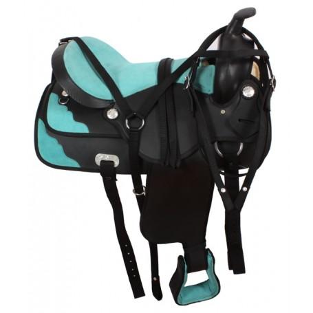 Western Synthetic Black Horse Saddle 16 17