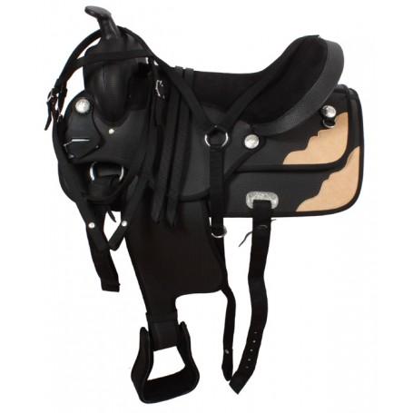 Black Western Synthetic Horse Saddle Tack 16 17