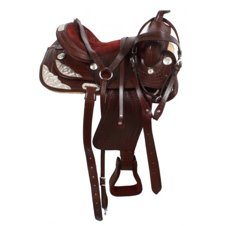 Brown Western Leather Show Saddle 16