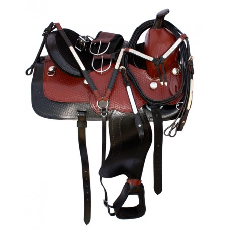 Western Leather Pleasure Trail Saddle Tack 15 16 17 18